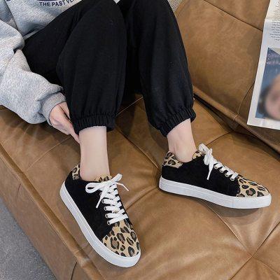 Women's Flats Shoes Leopard Vulcanized Shoes Ladies Casual Lace Up Canvas Shoe Fashion Female Sneakers Woman Comfort 2021