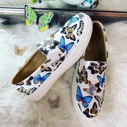 2021 Spring Women Loafers Butterfly Slip On Sneakers Platform Ladies Casual Vulcanized Shoes Comfort Female Flat Shoe