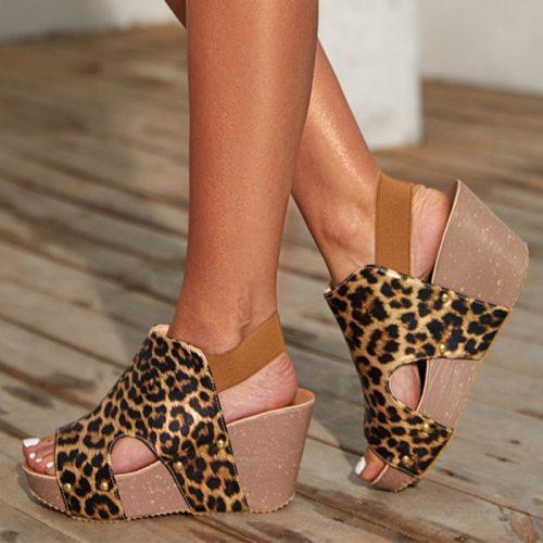 Summer Wedges Sandals Women Platform Peep Toe Ladies Pumps Shoes Fashion Female Vintage Leopard High Heels Woman New