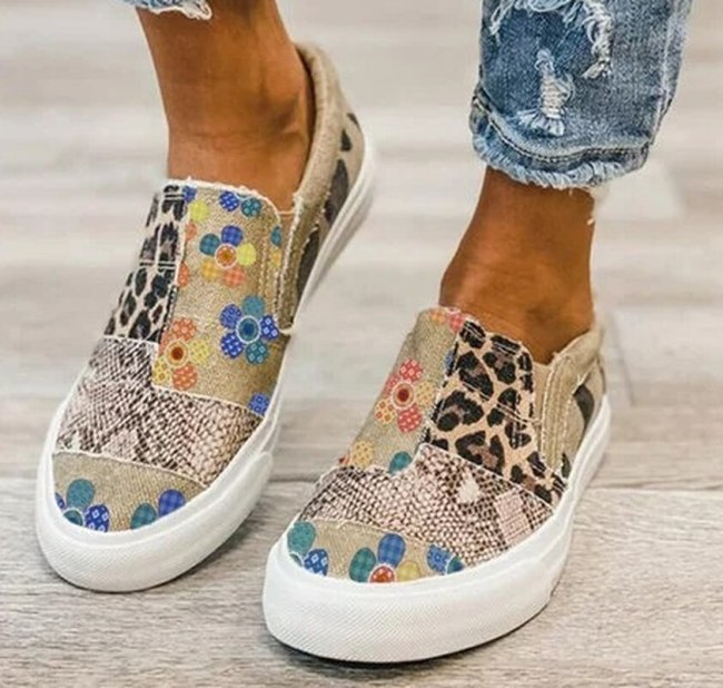 Student Women Ankle Boots Low Heels Wedges Pumps Light Flat Platfrom Shoes Woman Summer Booties Zapatos De Mujer Leopard