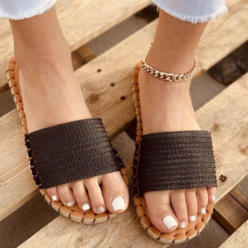 Summer Hemp Weave Slippers Women Flat Heel Sewing Sole Open Toe Outdoor Beach Slides Vintage Trend Sandals Ladies Shoes Female