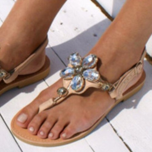 Summer Women's Flat Sandals Fashion Crystal Clip Toe Beach Shoes Ladies Casual Comfort Plus Size Women Roman Sandals