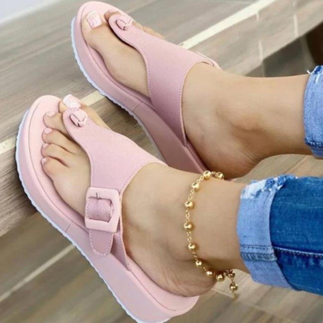 2021 Summer Women Slipper Buckle Decoration Beach Sandals Female Wedge Shoes Lady Bath Home Outdoor Slippers Fashion Flip-flops