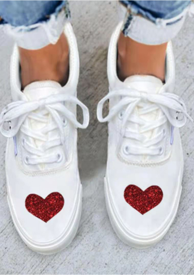 Women Sneakers Female Lace Up Canvas Shoes Comfortable Spring Love Pattern Vulcanized Shoes Ladies Casual Flats Shoes Plus Size