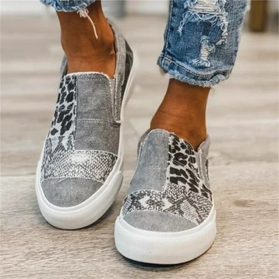 2021 New Canvas Shoes Spring Leopard Print Comfy Slip On Ladies Large-Sized Flats 35-43 Patchwork Outdoor Female Sport Sneakers