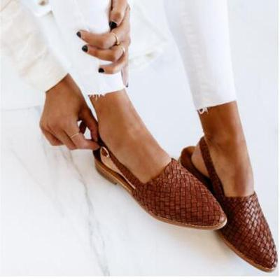 Women Flats Vintage PU Leather Shoes Woman Pointed Toe Sandals Flat Shoe Plus Size Chaussures