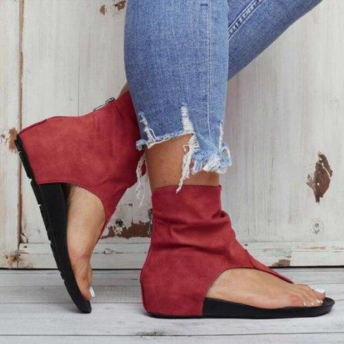 Ladies Sandals Clip Toe Flat Women Platform PU Leather Gladiator Shoes Summer Female Flip Flop Zipper Plus Size Casual Woman
