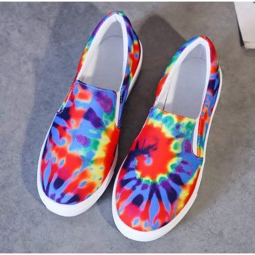 Women's Flats Colorful Woman Platform Loafers 2021 Female Autumn Footwear Plus Size 43 Slip On Elastic Band Comfort Ladies Shoes