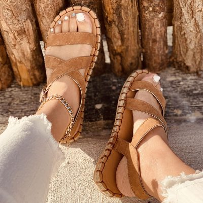 2021 Summer Sandals Women Platform Shoes Outdoor Flats Woman Soft Leather Casual Open Toe Gladiator Wedges Ladies Shoes
