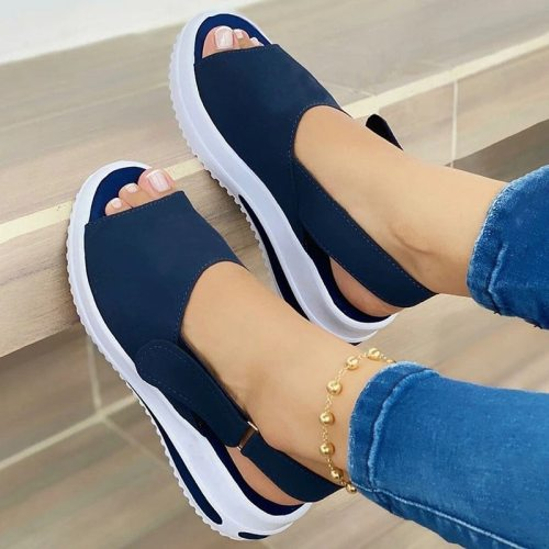 New Summer Sandals for Women Solid Color Platform Peep Toe Beach Sandals Ladies Slip on Platform Flats Shoes Straps Women Shoes