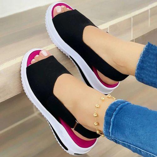 New Summer Sandals for Women Solid Color Platform Peep Toe Beach Sandals Ladies Slip on Platform Flats Shoes Straps Women Shoes
