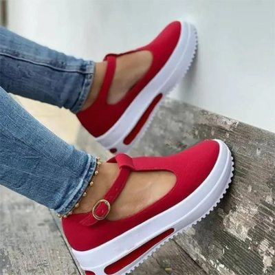 2021 Summer Casual Shoes for Women Flock Buckle Strap Woman Sneakers Female Platform Wedge Shoes Female Thick Bottom Flats