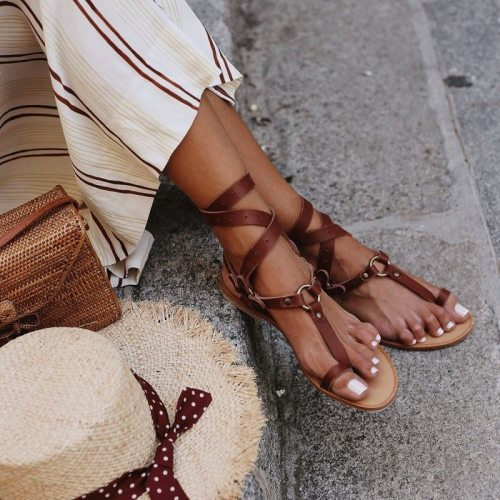 Open Toe Women Flat Sandals Sexy Cross Strappy Ladies Shoes Summer Ankle Strap Roman Beach Sandals Big Size Flip Flops Du5481