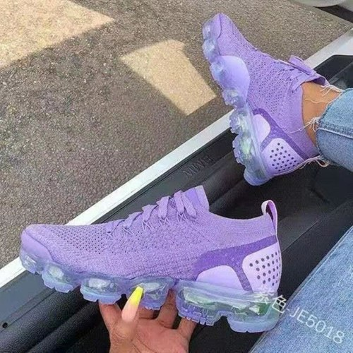 Hot Sale New Style Women's Air Cushion Net Shoes 2021 Fashion Flying Woven Women's Shoes Front Lace-up Breathable Running Shoes