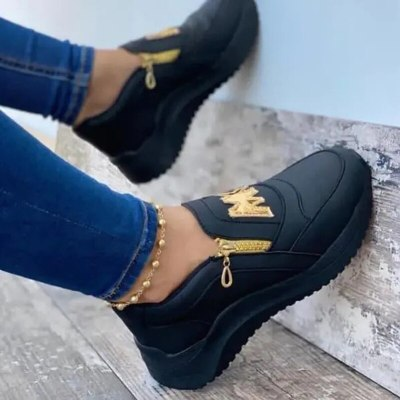 2021 Spring Women Chunky Sneakers Solid Color Platform Shoes Thick Bottom Zipper Women's Vulcanized Shoes  Sneakers Women Shoes