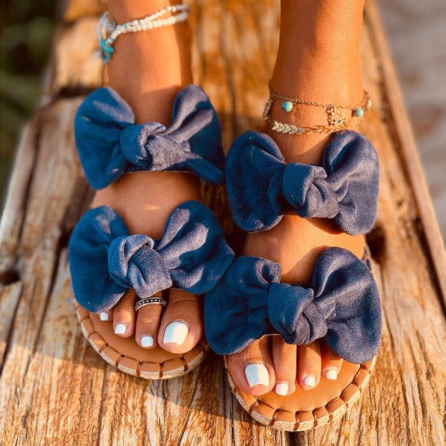 Women Sandals Sweet Summer Shoes Women Bowknot Flats Sandals Slip-on Summer Sandals Shoes Female Slippers Beach Sandalias Mujer