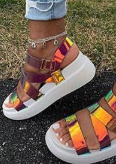 2021 Platform Sandals Women New Summer Change Colors Open Toe Ladies Buckle Shoes Larged-Size 36-43 Female Dress Beach Sandals