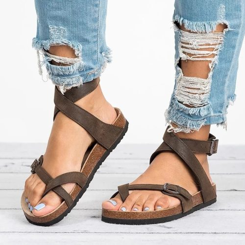 Women Sandals 2021 New Women Summer Sandals Plus Size 43 Leather Flat Sandals Female Flip Flop Casual Beach Shoes Ladies