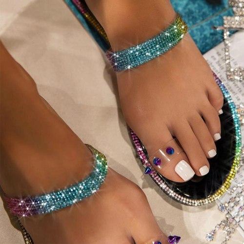 New Rhinestone Bright Diamond Slippers Crystal Hollow Flat Slide Ladies Open Toe Comfort Slip On Outdoor Beach Sandals