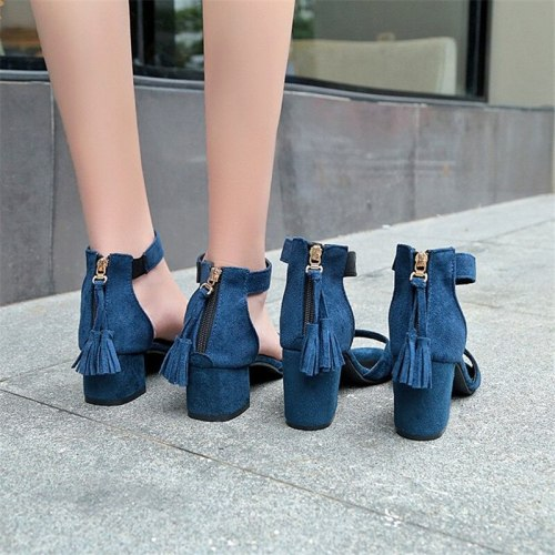 High Heels Sandals Women New Summer Shoes Woman Fashion Sexy Open Toe Riband Ankle Strap Square Heel Party Female Shoes