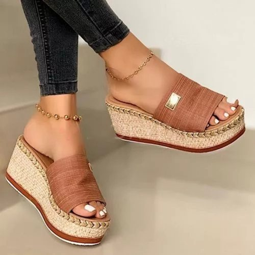 Summer Wedges Slippers Platform High Heels Women Slipper Ladies Outside Shoes Basic Clog Wedge Slipper Flip Flop Sandals