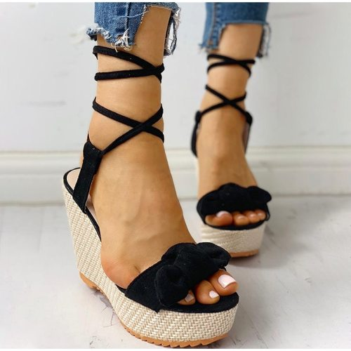 Women's Summer Sandals Woman Wedges Knot Ankle Strap Shoes Female Lace Up Ladies Fashion Elegant Sandal Flock Non Slip 2021 New