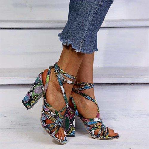 Sandals Woman Summer Vintage Snakeskin Women Lace ladies Shoes Peep Open Toe Sandals Pumps Sexy Plus Shoes Size 34-43