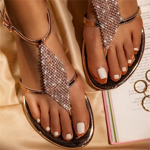 2021 Bohemian Sandals Women Summer Fashion Bling Rhinestone Clip Toe Ladies Comfortable Shoes Outdoor Dress Beach Flat Feetwear