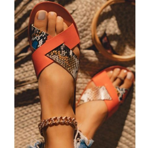 Summer Shoes 2021  Women Sandals Fashion Cross Strap Beach Shoes Woman Slides Open Toe Comfort Flat Female Outdoor Slippes
