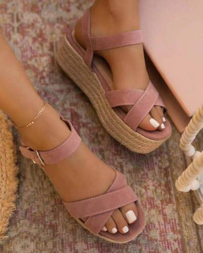 2021 Women Sandals Summer Wedge Shoes Buckle Fashion Casual Lace Up Women Shoes Beach Ladies Sandals Sandalias De Mujer