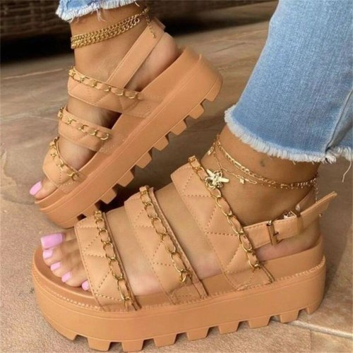 Summer Platform Sandals Women 2021 Fashion Open Toe Buckle Strap Ladies Comfortable Casual Shoes With Metal Chain Gladiator