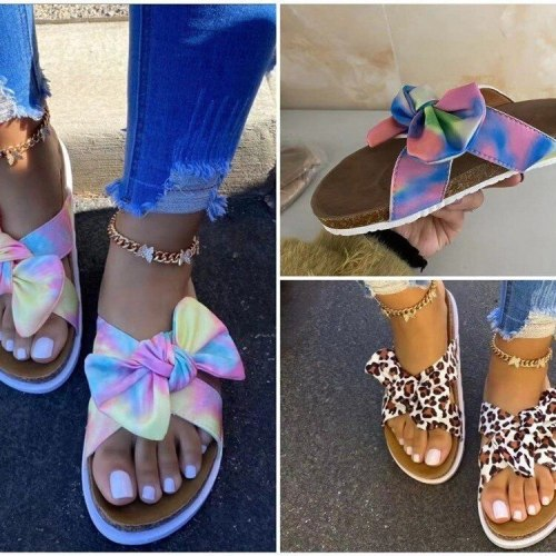 Butterfly-Knot Big Size Multicolored Sandals Shoes Ladies' Slippers Platform Slipers Women Low Leopard Summer 2021 PU leopard Sl