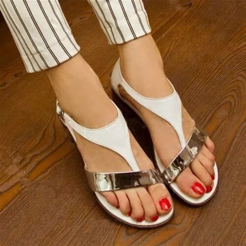 Low Flat Gladiator Sandals Women Leather T-Strap Rome Sandals Cover Heel Buckle Strap Concise Mixed Colors Bohemian Shoes