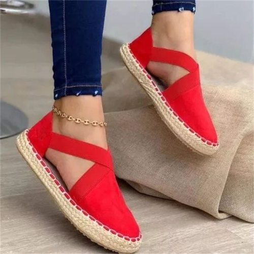 2021 Classic Flats Women Spring Summer Espadrille Elastic Band Ladies Comfy Casual Sandals 34-43 Large-Sized Female Cloth Shoes