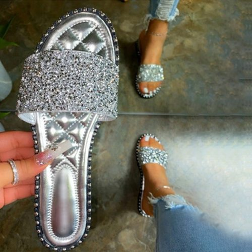 New Slippers Women Summer Sandals 2021 Fashionable Bling Female Casual Flops Girls Flat Shoes Outdoor Cool Sandals For Women