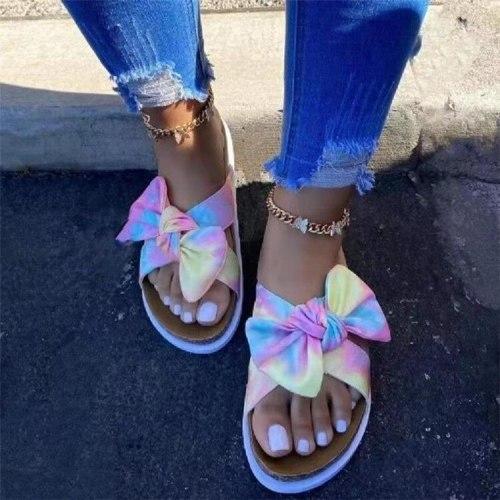 Butterfly-Knot Big Size Multicolored Sandals Shoes Ladies' Slippers Platform Slipers Women Low Leopard Summer 2021 PU leopard Sl