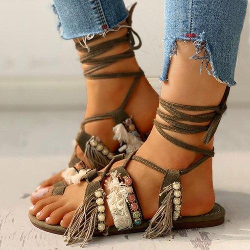 Women Sandals Ladies Summer Fashion Casual Fringe Multi-Strap Crisscross Lace-Up Sandals Flat Comfortable Boho Beach Shoes C140#