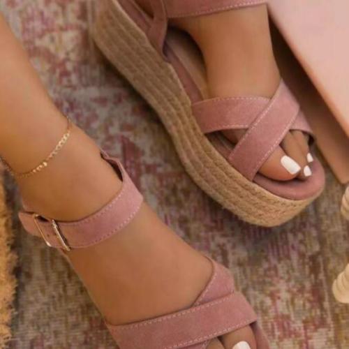 2021 Women Sandals Summer Wedge Shoes Buckle Fashion Casual Lace Up Women Shoes Beach Ladies Sandals Sandalias De Mujer