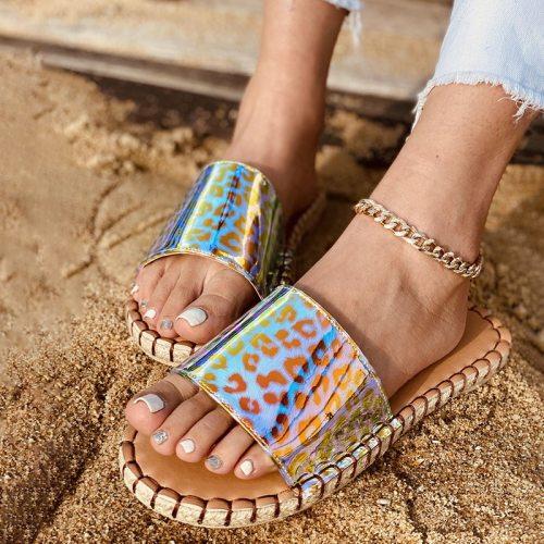 Bling Women Slippers Open Toe Platform Shoes Transparent Sandals Shoes Woman Flats Slides Ladies Rhinestones Leopard Slip-On