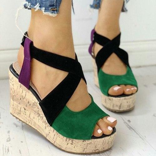 New Summer Platform Sandals Women Peep Toe High Wedges Heel Ankle Sandalia Fish Mouth Shoes Women Leather Gladiator Sandals