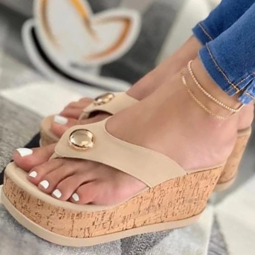 Summer Slippers Women Sandals Plafrom Sandals Ladies Slip-On Flip Flops Shoes Leather Peep Toe Female Sandalias Zapatos Mujer