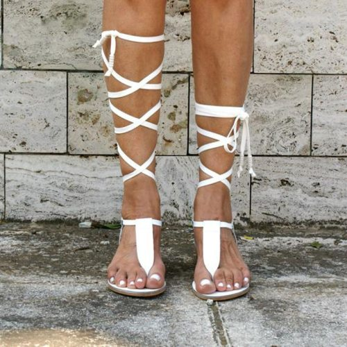 New Gladiator Women Flat Sandals Ladies Clip Toe Cross Strap Thong Sandals Shoes Woman Beach Free-binding Sandalen Dames 2021
