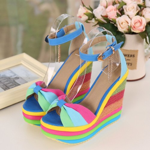 Women Sandals Wedges Shoes Colorful Platform Rainbow Colors Bowknot Hemp Bottom Female Ankle Buckle Strap Ladies Shoes Summer