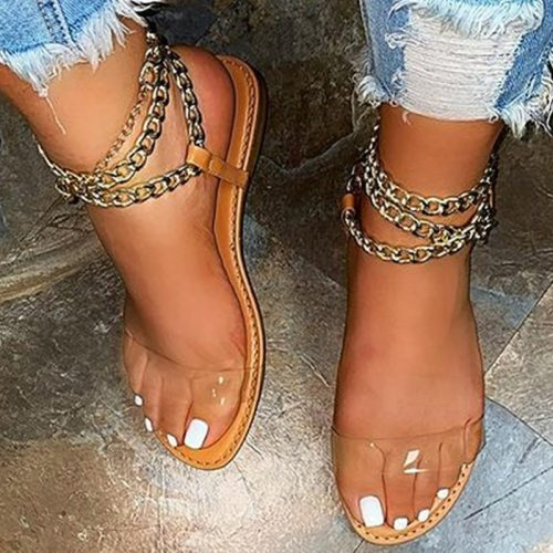 Summer Flat Sandals Women Transparent Sandals Fashion Gladiator Sandals Ladies Chain Open Toe Outdoor Sandalia Feminina