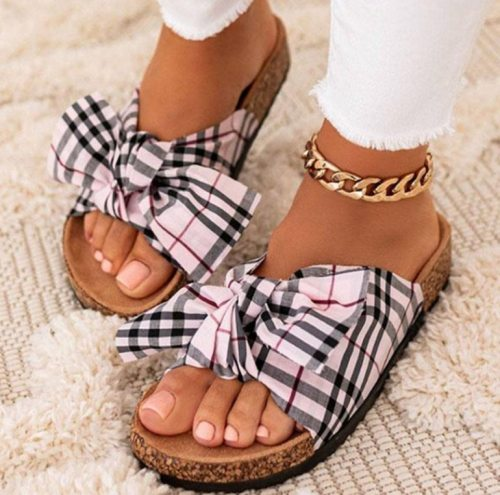 Women's Beach Slippers Casual Sewing Ladies Flat Shoes Summer Bow-knot Female Sandals Comfortable Elegant Woman Shoes New