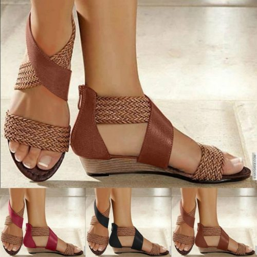 Fashion New Fish Mouth Leather Canvas Women Weave Wedge Heel Shoes Zipper Sandals Casual Beach Sandals Roman Shoes