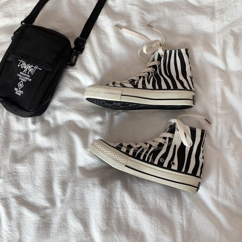 INS High Top Women's Canvas Shoes Zebra Pattern 2021 New   Style Women's Casual Shoes Fashion Comfortable Female Sneakers   Shoe