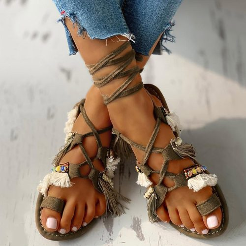 Women Sandals Ladies Summer Fashion Casual Fringe Multi-Strap Crisscross Lace-Up Sandals Flat Comfortable Boho Beach Shoes C140#