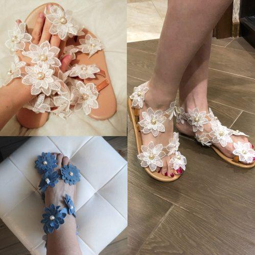 Women Sandals Boho Style Summer Shoes For Women Flat Sandals Beach Shoes 2020 Flowers Flip Flops Chaussures Femme 6 Colors 35-44