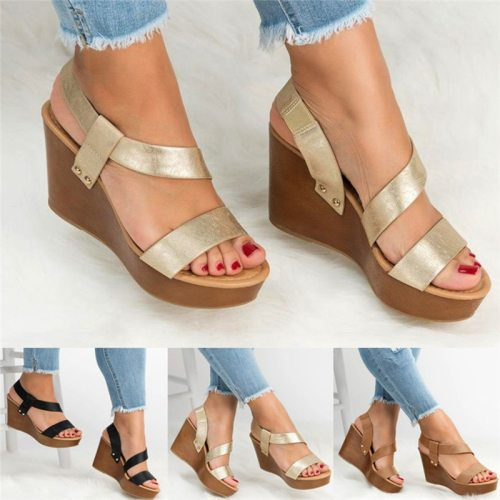 Women Sandals Wedge Platform Sandals Summer Slip On Ladies High Heels Shoes Fashion Open Toe Casual Female Footwear 2020